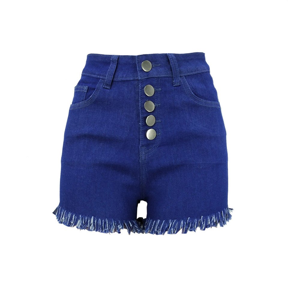 2019 European and American fashion personality new tassel high waist stretch solid color Slim thin hip sexy denim shorts