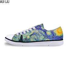 Women Casual Painting Art Print Shoes Female Lace-up Vulcanized Low-Top Canvas Shoe Ladies Flats for Girl Vincent van Gogh