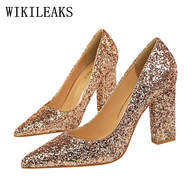 5aa4c1481 Mulheres de luxo sapatos de salto alto sapatos de bling calcanhar quadrado mulher  sapatos de festa sapatos de casamento da noiva fetiche sapatos de salto ...
