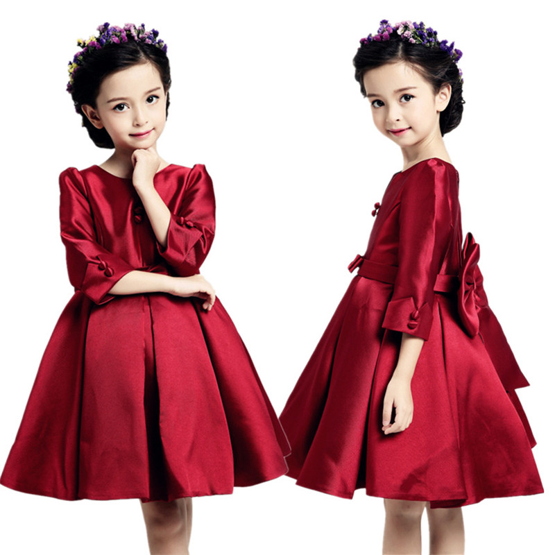 New Satin Flower Girl Dress Red Princess Tutu Party Wedding Dresses for Girls Christmas Style Sweet Kids Dress with Big Bow 45cc 52cc 58cc chainsaw clutch replacement for poulan 4500 5200 5800 chain saw parts accessory