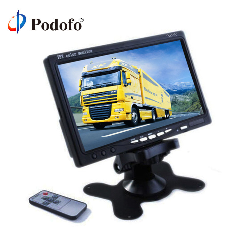Podofo 7 TFT Color LCD Headrest Car Parking Rear View Reverse Monitor With 2 Video Input 2 AV In For DVD VCD Reversing Camera 4 3 tft lcd car rear view reverse color camera monitor reversing dvd vcr cctv
