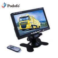"""Podofo 7 """"TFT Color LCD reposacabezas visión trasera para aparcamiento de coche Monitor inverso con 2 Entrada de vídeo 2 AV In para DVD VCD cámara de marcha atrás"""