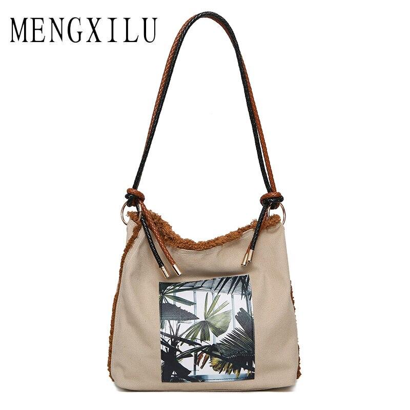 MENGXILU Cute Casual Nylon Women Bags Shoulder Bag Designer Printing Ladies Hand Bag Tote Sac A Main High Quality Women Handbag