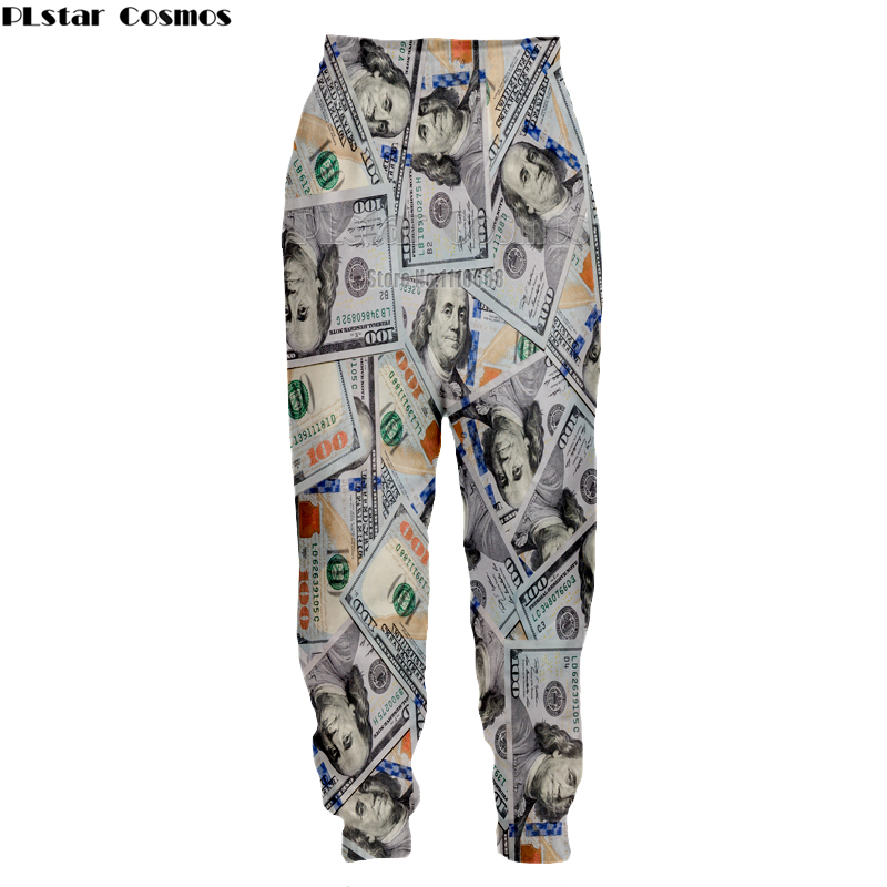 PLstar Cosmos Funny 3D Money Pattern Dollars Print Spring Pants Women Men Palazzo Joggers Casual Sweatpants Dropship