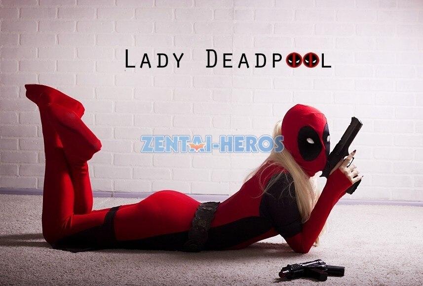 Lady Deadpool jelmez piros teljes test spandex lány női női Heros - Jelmezek - Fénykép 3