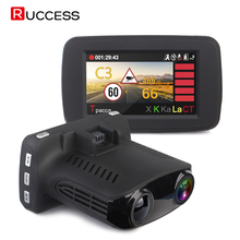 RUCCESS Car DVR Radar Detector GPS 3 in 1 Russian Voice Speedcam Anti Radar Detectors Full HD 1296P 2.7″ Car Camera Dash Cam