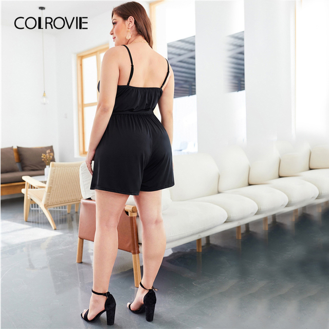 COLROVIE Plus Size Black Self Tie Solid Sleeveless Cami Romper Women Clothes 2019 Summer Casual Overalls Office Ladies Playsuit 1