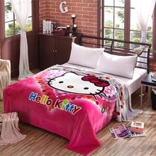 Дети Одеяло Hello Kitty Одеяло Милые Девушки Одеяло на Кровать/Диван Принцесса Одеяло Супер Теплый и Мягкий, 200×230 см Бесплатная Доставка