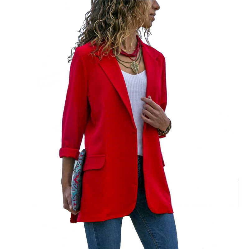 2019 новый весенний Женский блейзер длинный рукав открытый передний Легкий Повседневный офисный лацкан отложной воротник тонкая куртка верхняя одежда женская