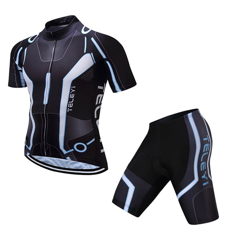 teleyi Summer Outdoor Bike Pro Team Men Sport Cycling Jersey Ropa Ciclismo/Road Bicycle 3D Padded Cycling Clothing Sets