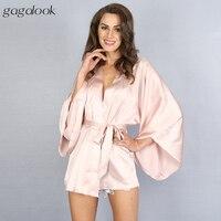Gagalook Faux Satynowa Koszula Nocna Sexy Różowy Wrap Szlafrok Bielizna Nocna dla Kobiet z Sashes HC0040