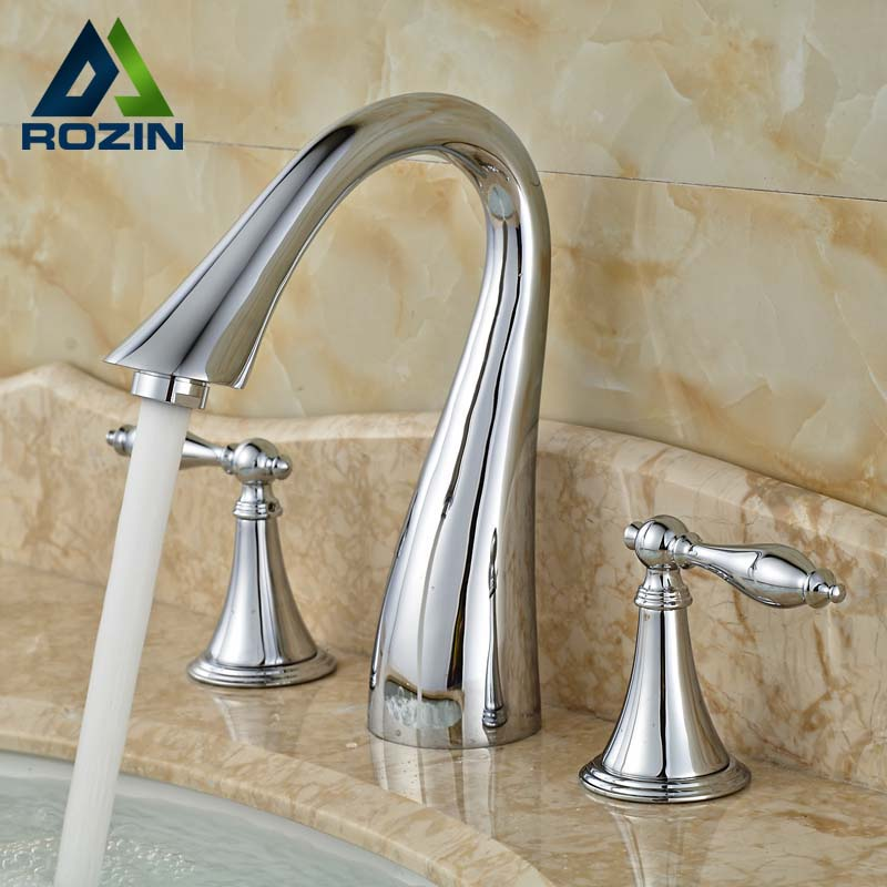 2016 Newest Swan Shaped Wash Basin Taps Three Holes Brass Countertop Vessel Faucet Chrome Finish цена