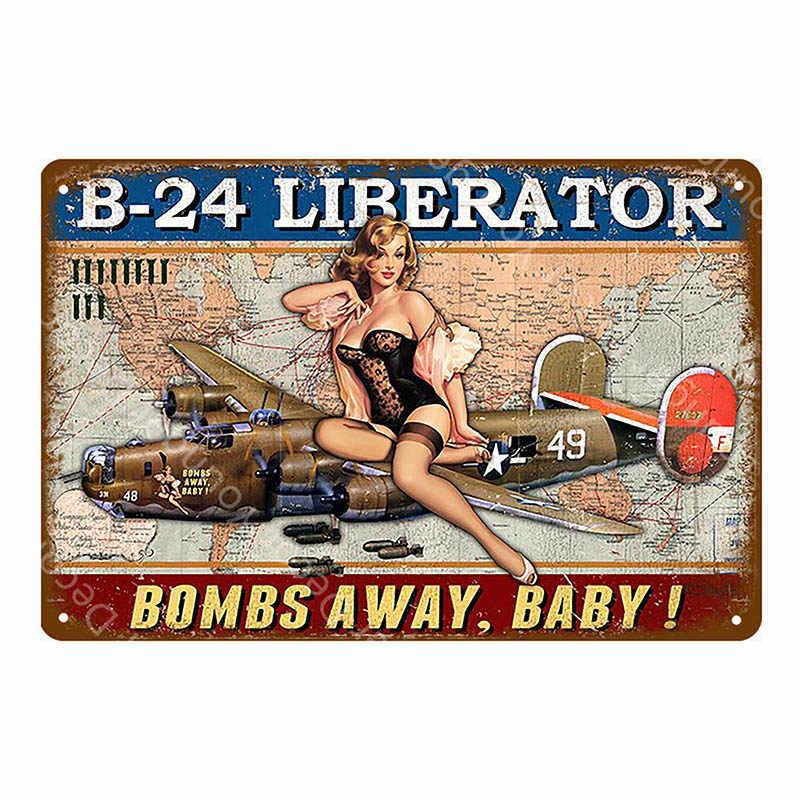 Винтаж домашнего декора с гаражной тематикой металлический знаки Соблазнительная девушка плакат Автомобиль Мотоцикл самолет с секси леди настенная доска