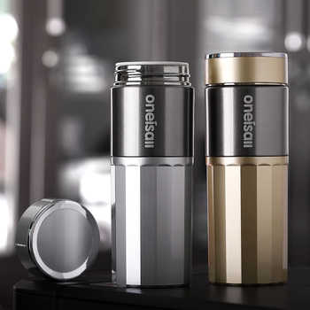 Oneisall Ceramic Thermos Cup Insulated Water Bottle Tea Vacuum Flask Cup Thermoses Straight Cup For Male Gift - DISCOUNT ITEM  30% OFF Home & Garden