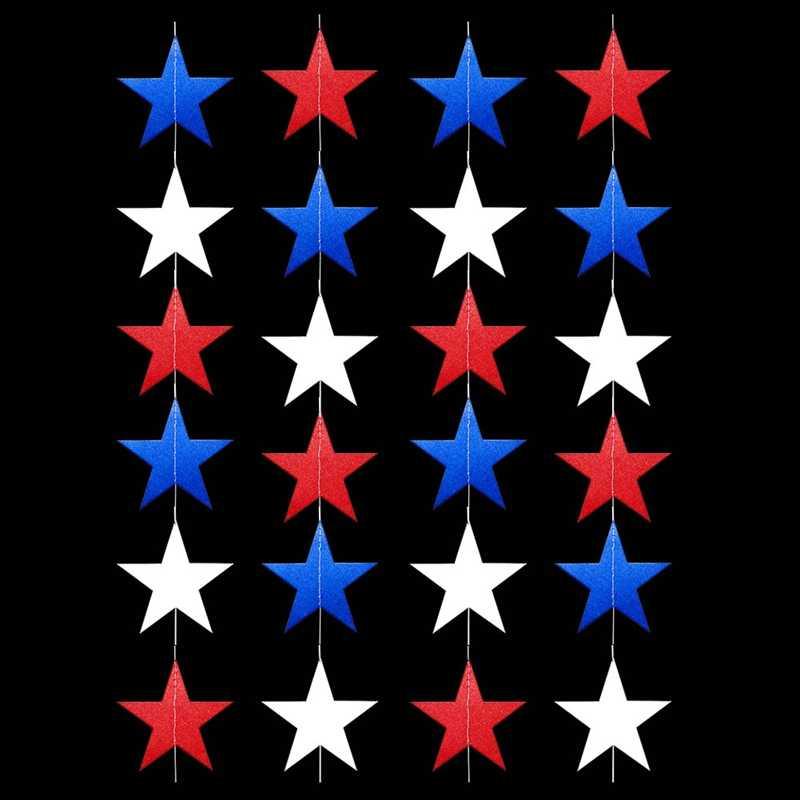 4 июля США Бумажная звезда гирлянды 4 м длинная струнная цепь День Независимости баннер для вечеринки украшения ручной работы