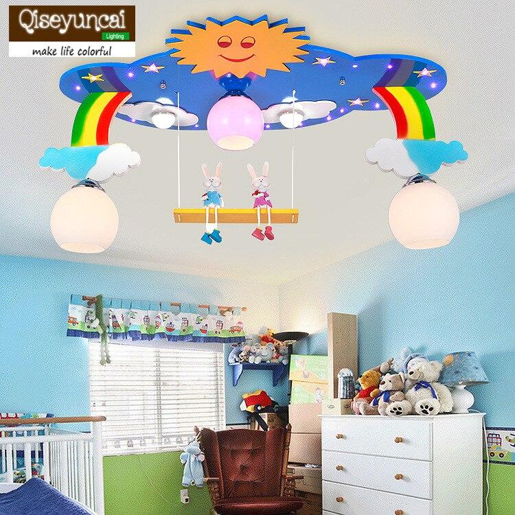 Qiseyuncai 2018 new Creative Personality Cartoon Rainbow LED Ceiling Light Girl Boy Bedroom Eyes Children Room Remote Light Ceiling Lights     - title=