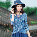 2017 autumn new national wind women retro Chinese embroidery long-sleeved women's t-shirt wild thin bottoming shirt wild