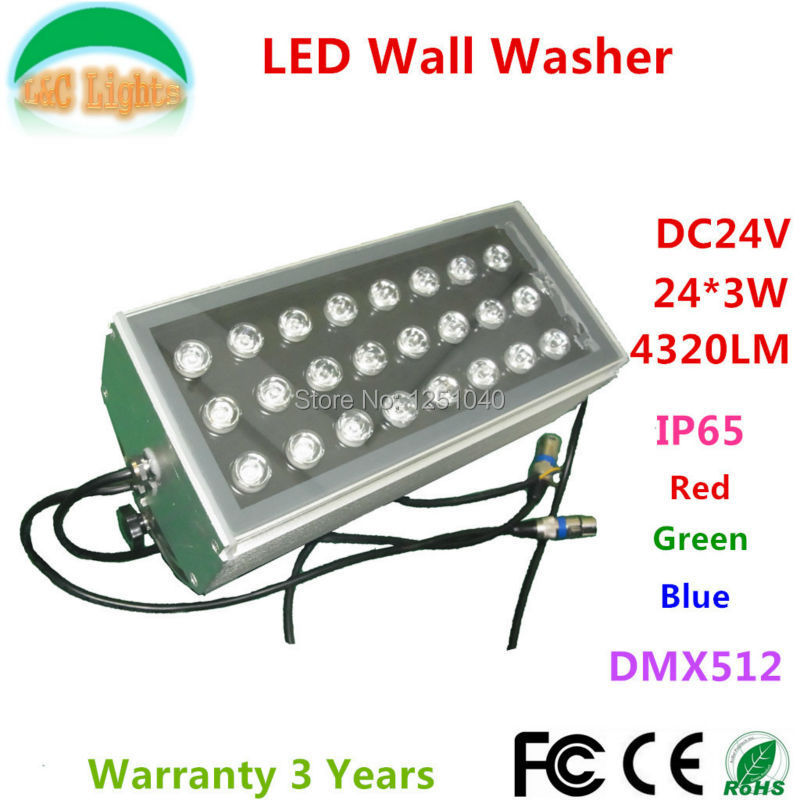 24W DMX512 RGB LED Wall Washer DC24V Outdoor Spotlights Change color LED Floodlight IP65 Waterproof Buildings Projector Light dc 24 v 36w rgb led wall washer light full color 1200 70 71mm