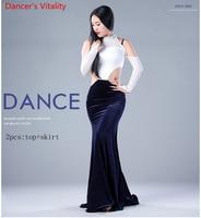 Lace Velvet Performance Belly Dance Set Long Sleeves Girl Dress Dresses Belly Dancing Belly Dancing Costumes