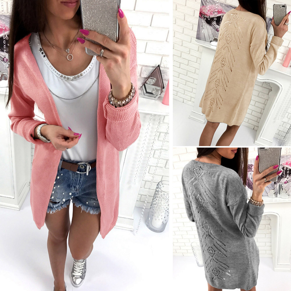 Womens Loose Hollow Casual Long Sleeve Sweaters Tops Cardigan