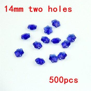 Sparkling 14mm 500pcs Dark Sapphire Crystal Prism Pendant Lighting Hanging Accessories Glass DIY Beads For Wedding Decoration