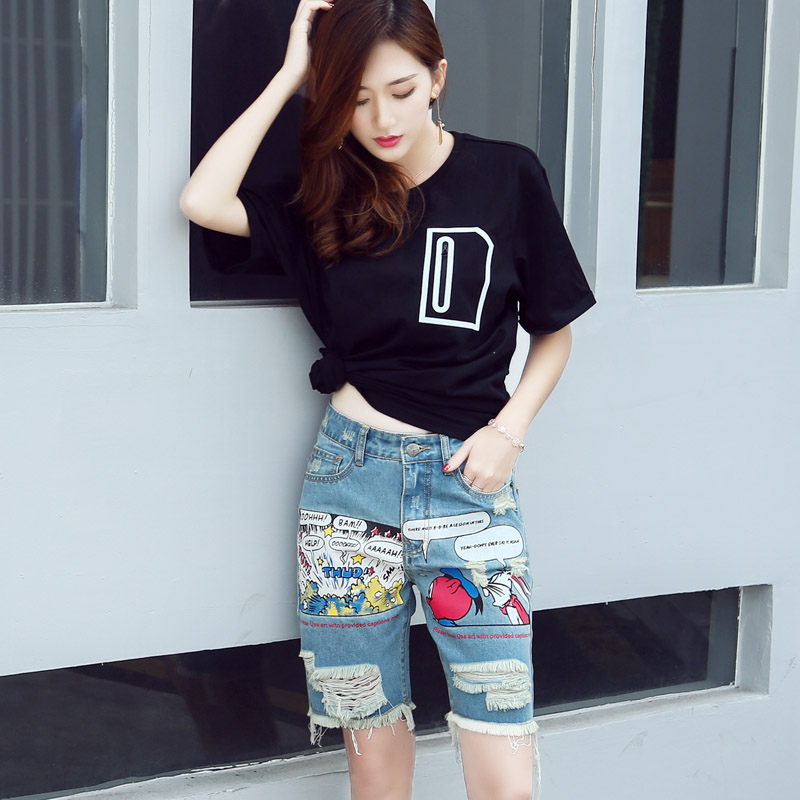 Women's Summer Ripped Knee Length Jeans Fashion Cool Boyfriend Pattern Holes Denim Capris For Women Shorts Punk Tassel Breeches
