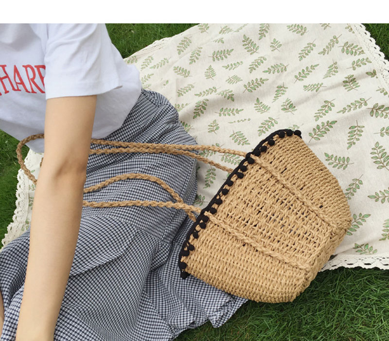 REREKAXI New Bohemian Beach Bag for Women Cute Handmade Straw Bags Summer Grass Handbags Drawstring Basket Bag Travel Tote 7
