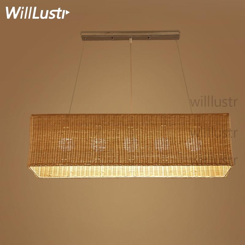 Willlustr rectangle handmade wicker pendant lamp dinning living room suspension light hotel hall restaurant bar hanging lighting