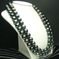 9 10mm Black Tahitian Cultured Pearl Necklace 50