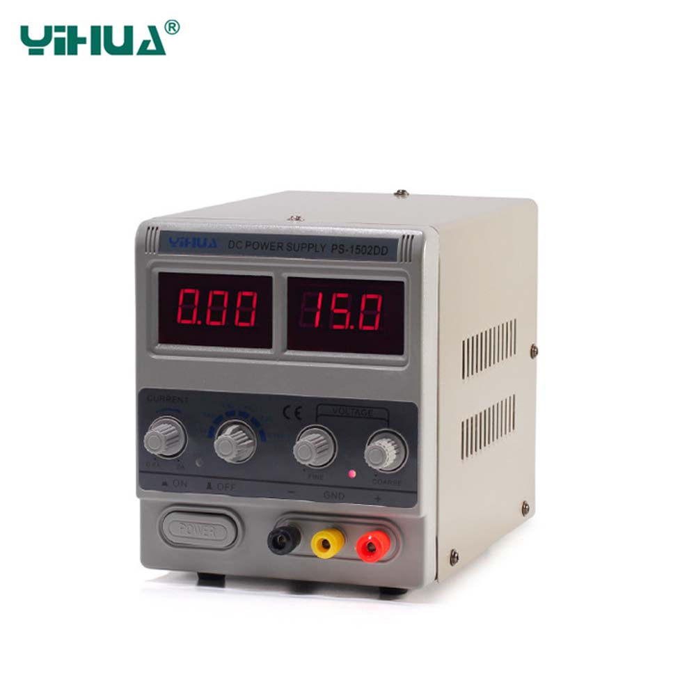 YIHUA 1502DD Regulated DC power supply Mobile phone repair Adjustable power 15V 2A Power Supply Continuous conduction 12pcs