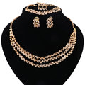 African Beads Jewelry Set Dubai Gold Plated Crystal Women Wedding Party Three layers Necklace Earring Fine Jewelry Sets