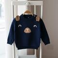 Novo 2017 primavera e outono das crianças camisolas dos desenhos animados do bebê meninos e meninas do bebê blusas de malha longo-sleeved camisola