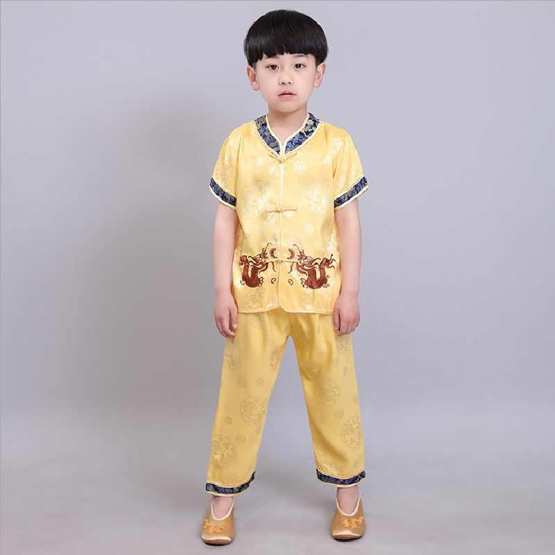 中国の伝統的な子供のカンフースーツ唐服セット刺繍ドラゴン男の赤ちゃんカーディガン Tシャツズボン新年のコスチューム