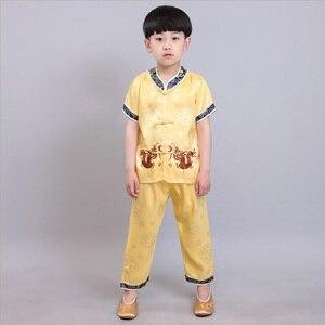 Image 3 - 中国の伝統的な子供のカンフースーツ唐服セット刺繍ドラゴン男の赤ちゃんカーディガンtシャツズボン新年のコスチューム