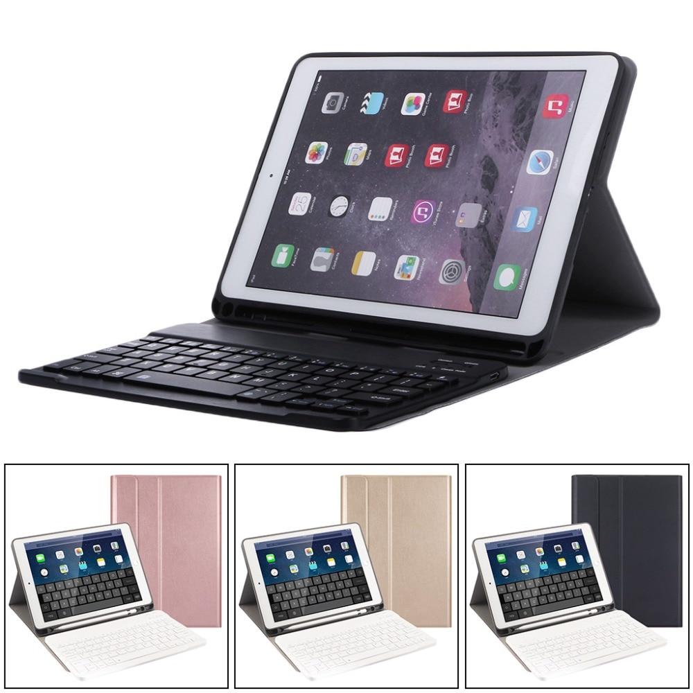 купить Ultra-slim Solid Tablet Folding Folio Cover Case Wireless Keyboard Bluetooth 3.0 Detachable With Pencil Holder For iPad 9.7 2018 по цене 2189.52 рублей