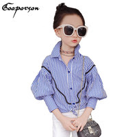 Girls Blouse Shirt Autumn Long Sleeve Striped Kids Girl Fashion Shirt 4-12years Old Children Tops Kids Outwear Clothing New