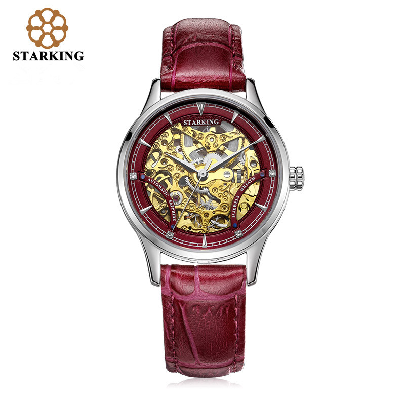<font><b>STARKING</b></font> Mechanical <font><b>Watch</b></font> Women Luxury Stainless Steel Hollow Skeleton Automatic Ladies <font><b>Watch</b></font> Chinese Hodinky Damske 5ATM AL0185 image