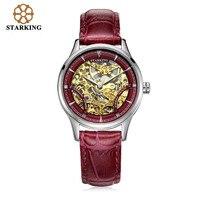 2016 Women Mechanical Watches Leather 50m Waterproof Hollow Automatic Gold Watch AL0185 Luxury Brand STARKING Ladies Wristwatch