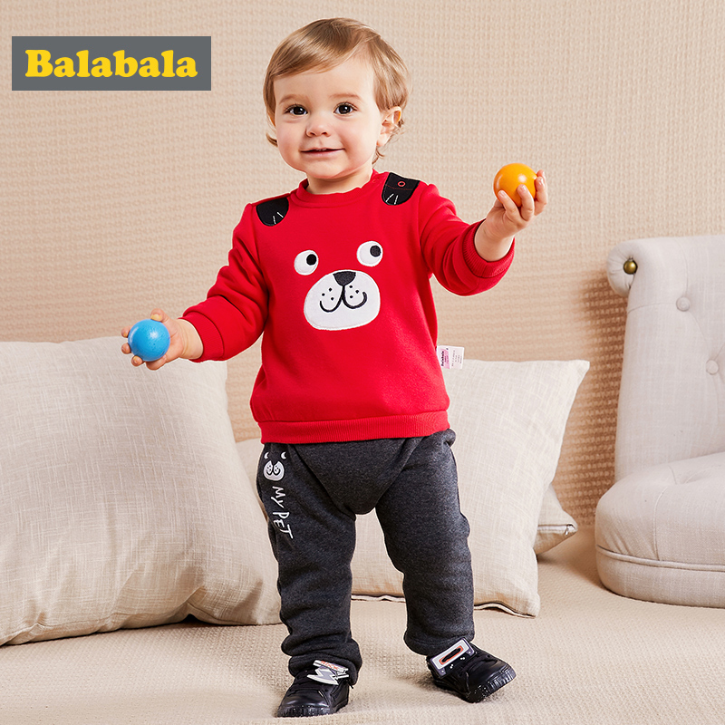 Balabala infant clothes set boy newborn baby boys cotton clothing cute dog Applique kids clothes boys' O-Neck new year suits
