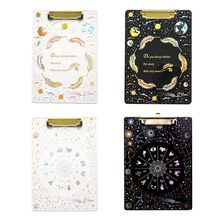 Creative Starry Sky A4 Clipboard Acrylic File Folder Writing Pad Document Holder School Office Supplies Stationery ezone cartoon a4 print clipboard kawaii clip paper writing pad candy color file folder school office stationery clip supplies