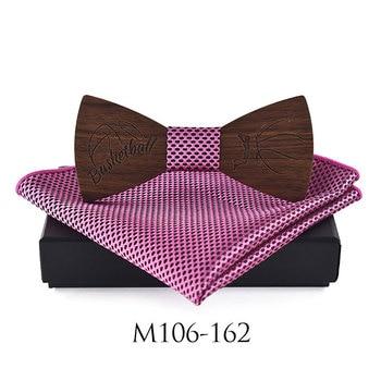 Luxury Wooden Bowties for Men Fashion Laser Engraving Basketball Pattern Bowtie Pocket Square Handkerchief Set Wedding Gift