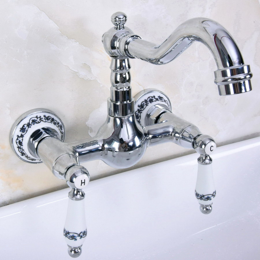 Polished Chrome Brass Wall Mounted Double Ceramic Handles Levers Bathroom Kitchen Sink Faucet Mixer Tap Swivel Spout Anf962