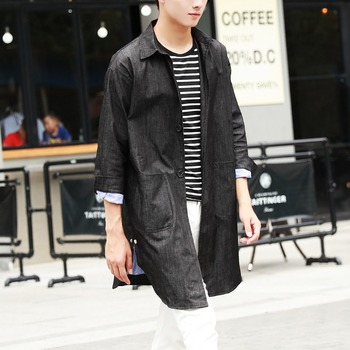 Autumn vintage black denim trench male medium-long loose thin lengthen outerwear overcoat