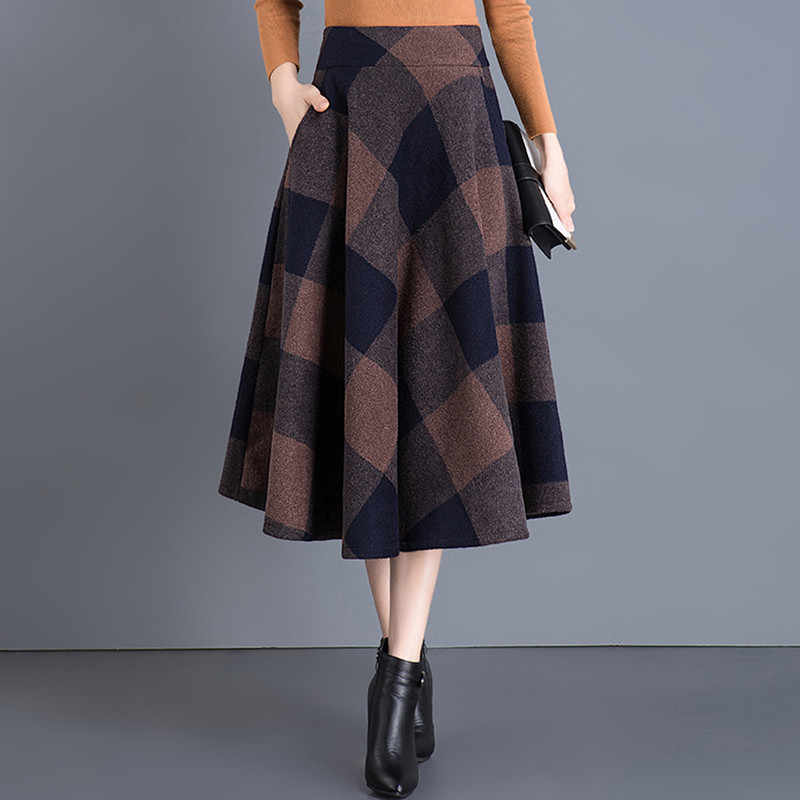 3e92d44eeea10a Vintage Plaid Skirt Women Autumn Winter England Style High Waist Woolen  Skirt Midi Length Elegant Plus