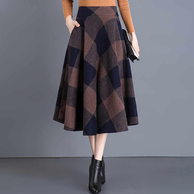 51c4d448c7 Vintage Plaid Skirt Women Autumn Winter England Style High Waist Woolen  Skirt Midi Length Elegant Plus
