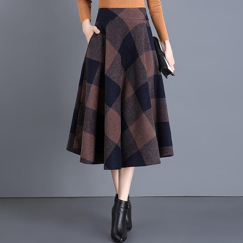 Vintage Plaid Skirt Women Autumn Winter England Style High Waist Woolen Skirt Midi Length Elegant Plus Size Ladies A Line Skirts