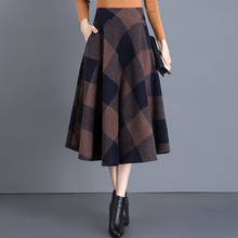 Qiukichonson Vintage Plaid Skirt Women Autumn Winter England Style High Waist Length