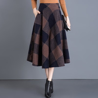 Vintage Plaid Skirt Women Autumn Winter England Style High Waist Woolen Skirt Midi Length Elegant Plus Size Ladies a line skirts