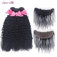 Лучший!  Brazilian Hair Weave Bundles With Frontal Curly Bundles With Closure 3 Bundles With 13x4 Lace Frontal Лучший!