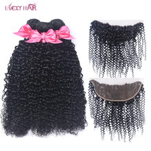 дешево!  Curly Bundles With Frontal Lace Frontal With Bundles Peruvian Human Hair Bundles With Closure